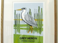 Large Framed Grey Heron Giclée Print