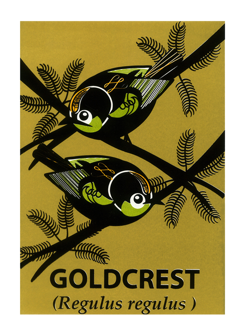 Mark Greco Screenprint of Goldcrest.